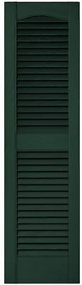 Decorative 12 in. x 43 in. Midnight Green Louvered Vinyl Exterior Shutters Pair