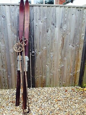 Wooden skis with poles - vintage