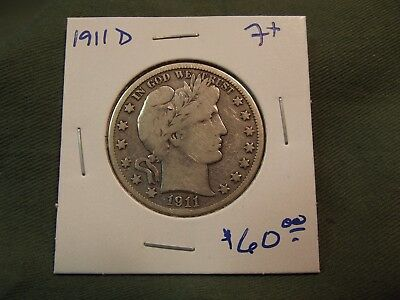 1911D F+ silver Liberty Barber Half Dollar, see our store for more, 1911-D