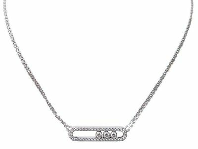 Neuf Collier Messika Move 3994 En Or Blanc Pavage Diamants 0.66C Necklace 4150€