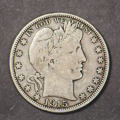 1915-D BARBER 50c SILVER HALF DOLLAR     (LOT #4)