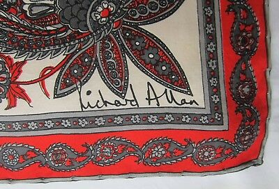 Richard Allan rolled silk scarf PAISLEY 27 inches sq red grey vintage