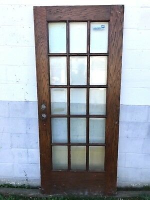 """ANTIQUE 15 PANE BEVELED GLASS ENTRY EXTERIOR 35 5/8 x 83 1/2"""" FRENCH DOOR PICKUP"""