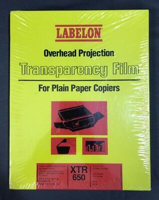 """XTR-650 Transparency Film 100 Unstriped Clear Film 8.5"""" x 11"""" Crafting SEALED"""