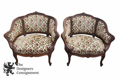 2 Antique Louis XVI Style Walnut Bergere Ladies Parlor Chairs Rococo Baroque