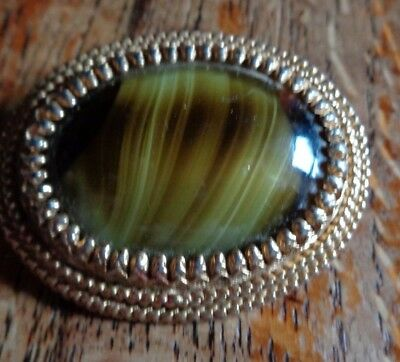 Vintage 60's or thereabouts Sphinx  gold tone and faux agate large oval brooch