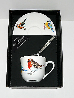 Garden birds bone china cup and saucer gift boxed with teaspoon Robin bluetit