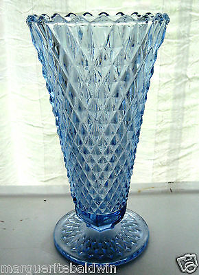 "Indiana Glass Ice Blue Diamond Point 8"" Footed Vase"