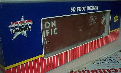 G GAUGE USA TRAINS Ref 19301A? UNION PACIFIC 50 foot STEEL BOXCAR Boxed