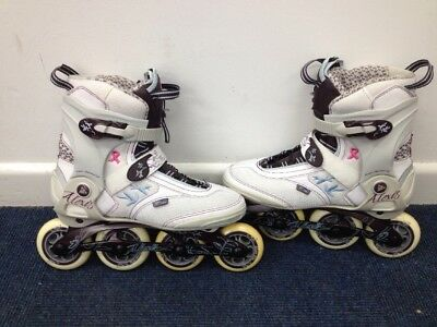 "K2 Alexis 84mm Speed ""Pink Bow"" T-Nine inline Skates UK 7 (S2_030)"