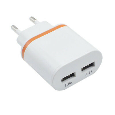 Universal Durable 2 Ports Wall Adapter LED Lights USB Fast Charger For iPhone EU