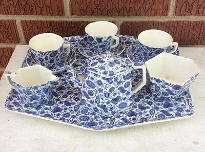 10 pc Staffordshire Childs/ Doll Tea Set COBALT BLUE PAISLEY CHINTZ Ridgway 1890