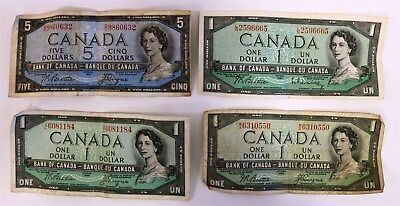 "Lot of 4 Bank of Canada 1954 Notes: $1 Dollar ""Devil's Face"" + One $5, & Two $1"