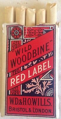 early wills  wills wild woodbine red label 5 cigarette  packet + contents