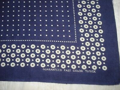 Vintage Tuside Fast Color 100% Cotton Navy Bandana Scarf Polka Dot Do Rag Old