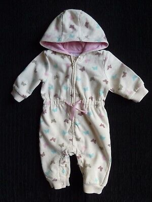 Baby clothes GIRL 0-3m cream butterflies pramsuit/all-in-one pink/aqua SEE SHOP!