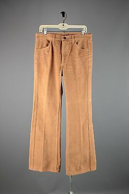 Vtg Men's 1970s Lee Corduroy Brushed Cotton Bell Bottoms sz M 33x32 Pants #3466