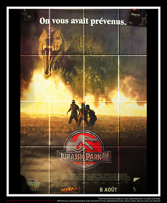 JURASSIC PARK 3 Style A 4x6 ft Vintage French Grande Movie Poster Original 2001
