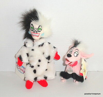 New Disney Store Cruella De Vil & Fluffy Plush Lot Set 101 102 Dalmatians P83