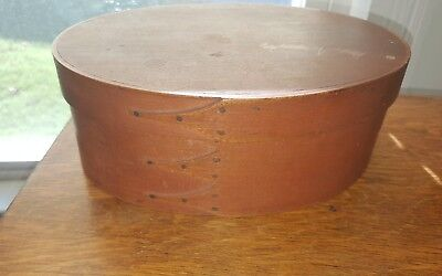 antique oval  shaker box 3 fingers cooper tacks