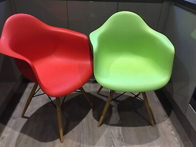 Pair Of Eames Inspired Carver Tub Armchair Dining Chairs