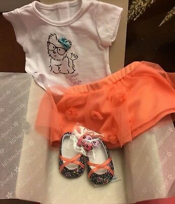 American Girl Coconut Cutie Outfit~Pet Puppy Graphic Tee~Skirt~Shoes Barrettes