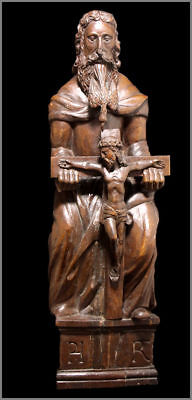 Rare Antique Wood Carved Catholic God The Father Holding Jesus Christ  1800's
