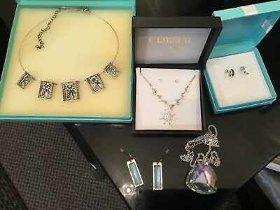 Job Lot Silver Coloured Costume Jewellery..Clear Stone.Please See Photos.