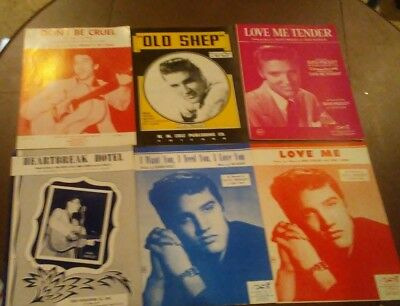Elvis Presley 1950s Lot of 6 Vintage Sheet Music Heartbreak Hotel Don't be cruel