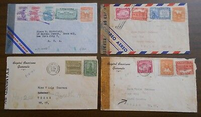 Guatemala 1940 s four official airmails, franking w/ commemorative stamps