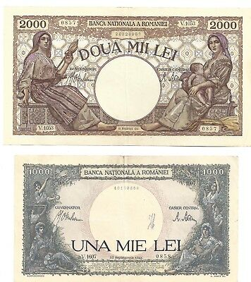 Romania 1000 and 2000 lei 1941 XF+/AUNC- banknotes