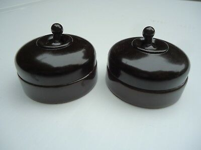 Original Crabtree bakelite and vitreous toggle light swiches, 1930's x 2