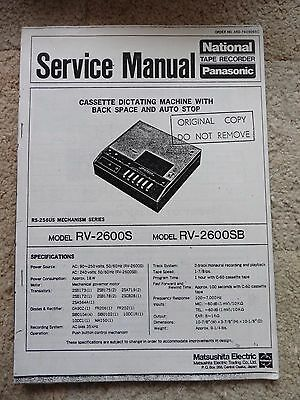 National Panasonic Cassette Dictating Machine Service Manual, RV-2600S RV-2600SB