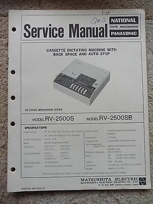 National Panasonic Cassette Dictating Machine Service Manual, RV-2200S RV-2500SB