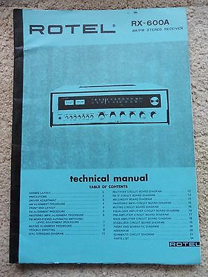 Rotel RX-600A Technical Manual, AM/FM Stereo Receiver