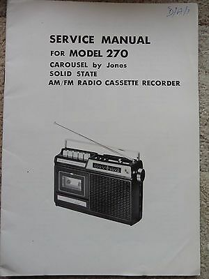 Carousel by Jones 270, Radio Cassette Recorder Service Manual,