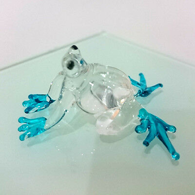 TINY FROG HAND PAINT BLUE BLOWN GLASS ART FIGURINE DECOR/ANIMAL COLLECTION#pro