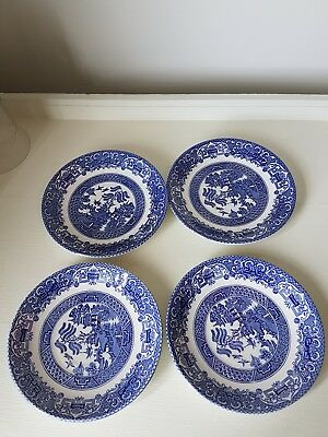 Old Willow English Ironstone blue and white side plates