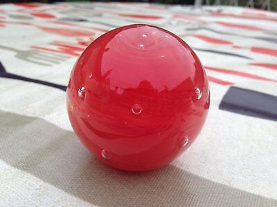 "Fab Vintage Stickered Langham Glass ""Red Mars"" Glass Paperweight"