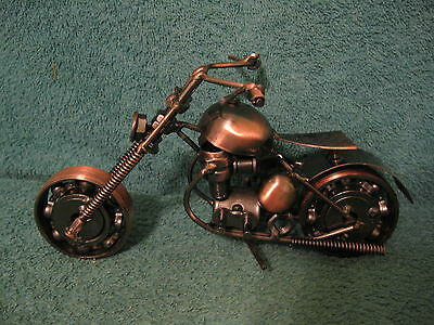 Handcrafted Motorcycle Model/Made w/Nuts, Bolts, & Other Bike Parts (item# S818)