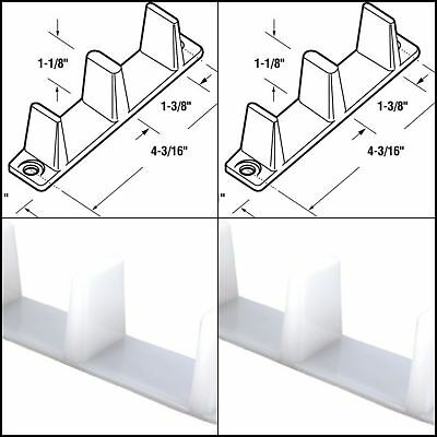 2 Pcs Thick by Passing Sliding Closet Door Bottom Guide, 4-3/16'' Plastic White