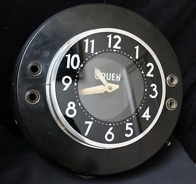 Rare Art Deco Black Beauty Gruen Advertising Neon Clock