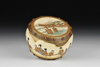 Japanese Meiji Period Satsuma Covered Box w/ Character Scenes