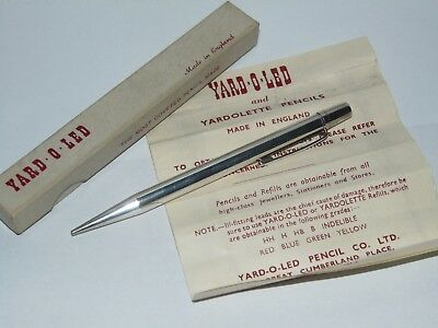 STYLISH BOXED 1958 SILVER YARD O LED PROPELLING PENCIL by J.M&CO LONDON LEAFLET