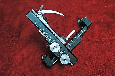 Large Microscope XY Slide clip holder. precision vernier scales, easy clamp-on