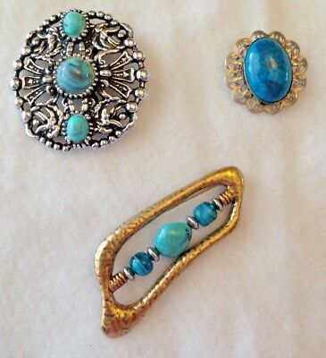 Lot Of 3 Brooches With Faux Turquoise Western Look