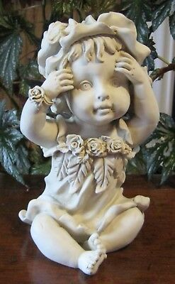 New Baby Fairy Sitting Figurine with Hands on Face. Indoor or Outdoor.