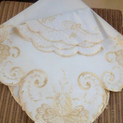 Pretty Vintage Gold Silk Embroidered Small Tablecloth & Doiley