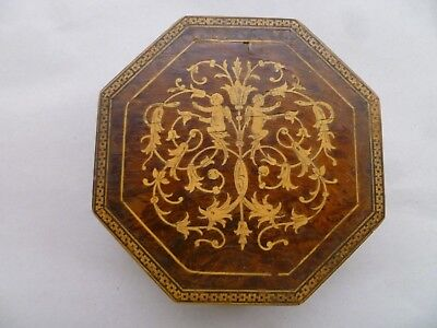 Antique Exotic Burl Wood Marquetry Inlay Jewelry Chest Trinket Box Cherubs Angel
