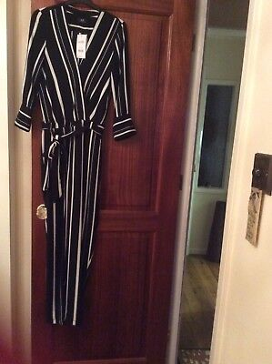 wallis black and white striped jumpsuit size 8 to 10 brand new with tags